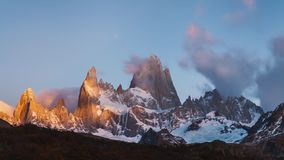 Mount Fitz Roy at dawn. Argentina, Patagonia. stock footage