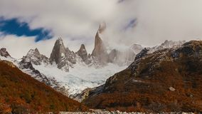 Mount Fitz Roy at dawn. Argentina, Patagonia. stock video footage