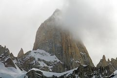 Mount Fitz Roy at the Los Glaciares National Park, Argentina. It is among the most technically challenging mountains for mountaineers on Earth Royalty Free Stock Photography