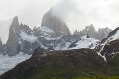 Mount Fitz Roy and mount Poicenot at the Los Glaciares National Park, Argentina. It is near a Mount Fitz Roy among the most technically challenging mountains Stock Photo