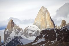 Mount Fitz Roy and mount Poicenot at the Los Glaciares National Park, Argentina. It is near a Mount Fitz Roy among the most technically challenging mountains Royalty Free Stock Photos