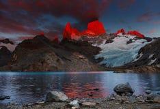 Mount Fitz Roy, Patagonia, Argentina. Laguna de Los Tres and mount Fitz Roy, Dramatical sunrise, Patagonia, Argentina Stock Photo