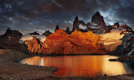Mount Fitz Roy, Patagonia, Argentina. Laguna de Los Tres and mount Fitz Roy, Dramatical sunrise, Patagonia, Argentina royalty free stock photo