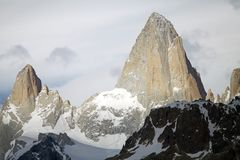 Mount Fitz Roy and mount Poicenot at the Los Glaciares National Park, Argentina. It is near a Mount Fitz Roy among the most technically challenging mountains Stock Image
