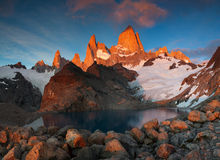 Mount Fitz Roy in the red light of sunrise. Stock Images