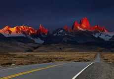 Mount Fitz Roy at sunrise, Patagonia, Argentina. Mount Fitz Roy at sunrise, alpenglow. Los Glaciares National Park, Patagonia, Argentina stock image