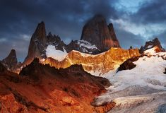 Mount Fitz Roy at sunrise Stock Photography