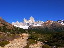 The rugged trail to Mount Fitz Roy royalty free stock photo