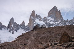 Mount Fitz Roy trekking Stock Photos