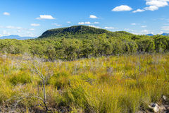 Mount French lookout. Overlooking Boonah and the Scenic Rim in Queensland during the day. The mountain is 579m above sea level and apart of the Moogerah Peaks Stock Images