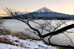 Mount Fuji в сцене зимы в феврале с заходом солнца стоковое изображение rf