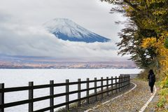 Mount Fuji at Lake Yamanaka in Japan royalty free stock photos