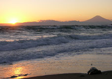 Mount Fuji. Japanese sunset on the Pacific Ocean with views of Mount Fuji Royalty Free Stock Photo