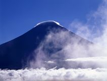 Mount Fuji. With clouds made of cotton Stock Photos