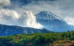 Mount Fuji. On a cloudy day in Yamanashi Prefecture, Japan stock photography