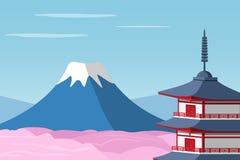 Mount Fuji and Arakura Sengen Jinja Shinto shrine. Vector Royalty Free Stock Photography