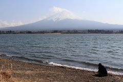 Mount Fuji as seen from Lake Kawaguchi. People are doing sport and taking photos, meanwhile. Taken in Yamanashi, Japan - February 2018 royalty free stock image