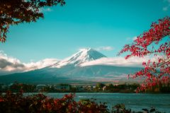 Mount Fuji in Autumn Color, Japan stock images