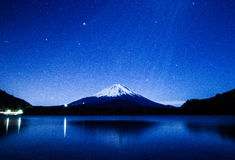 Mount Fuji bathed in the moon light shower Stock Photography