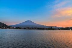 Mount Fuji in beautiful sunset at Lake kawaguchiko, Yamanashi, J. Apan Royalty Free Stock Image