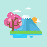 Mount fuji with cherry blossoms Stock Photos