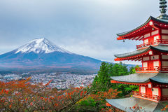 Mount Fuji, Chureito Pagoda in Autumn. Mount Fuji and Chureito Pagoda at sunrise in autumn. Chureito pagoda is located in Fujiyoshida, Japan. Mount Fuji, Fuji Stock Photos