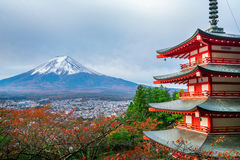 Mount Fuji, Chureito Pagoda in Autumn. Mount Fuji and Chureito Pagoda at sunrise in autumn. Chureito pagoda is located in Fujiyoshida, Japan. Mount Fuji, Fuji Stock Photography
