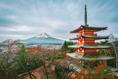 Mount Fuji, Chureito Pagoda in Autumn. Mount Fuji and Chureito Pagoda at sunrise in autumn. Chureito pagoda is located in Fujiyoshida, Japan. Mount Fuji, Fuji Stock Photo
