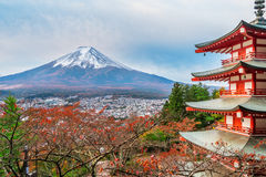 Mount Fuji, Chureito Pagoda in Autumn. Mount Fuji and Chureito Pagoda at sunrise in autumn. Chureito pagoda is located in Fujiyoshida, Japan. Mount Fuji, Fuji Royalty Free Stock Photos