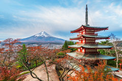 Mount Fuji, Chureito Pagoda in Autumn. Mount Fuji and Chureito Pagoda at sunrise in autumn. Chureito pagoda is located in Fujiyoshida, Japan. Mount Fuji, Fuji Royalty Free Stock Images