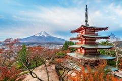 Mount Fuji, Chureito Pagoda in Autumn Royalty Free Stock Images