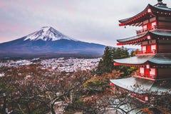 Mount Fuji, Chureito Pagoda in Autumn Stock Image
