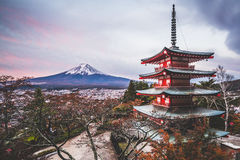 Mount Fuji, Chureito Pagoda in Autumn. Vintage tone image of Mount Fuji and Chureito Pagoda at sunrise in autumn. Chureito pagoda is located in Fujiyoshida Royalty Free Stock Photography