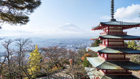 Mount Fuji and Chureito Pagoda, Japan. Royalty Free Stock Image