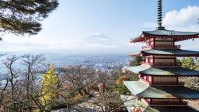 Mount Fuji and Chureito Pagoda, Japan. Royalty Free Stock Image