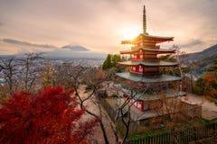 Mount Fuji and Chureito Pagoda at sunrise in autumn, Japan royalty free stock image