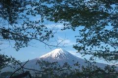 Mount Fuji with Clear sky at Kawakuchigo lake. Long exposure. Stable Lake Kawakuchigo Royalty Free Stock Photos
