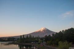 Mount Fuji with Clear sky at Kawakuchigo lake. Long exposure. Stable Lake Kawakuchigo Stock Photos