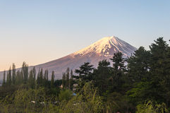 Mount Fuji with Clear sky at Kawakuchigo lake. Long exposure. Stable Lake Kawakuchigo Stock Photo