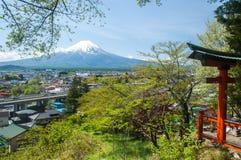 Mount Fuji with Clear sky at Kawakuchigo lake. Long exposure. Stable Lake Kawakuchigo Stock Images