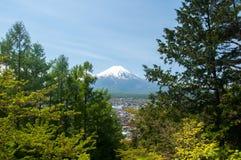 Mount Fuji with Clear sky at Kawakuchigo lake. Long exposure. Stable Lake Kawakuchigo Royalty Free Stock Photo
