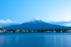 Mount Fuji with Clear sky at Kawakuchigo lake. In sunset Stock Photo