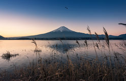 Mount Fuji at dawn with peaceful lake Stock Images