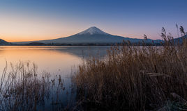 Mount Fuji at dawn with peaceful lake Royalty Free Stock Image