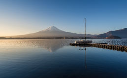 Mount Fuji in the early morning with reflection on the lake kawa Stock Photography