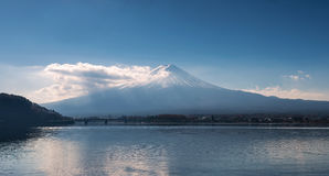 Mount Fuji in the early morning with reflection on the lake kawa Royalty Free Stock Photography