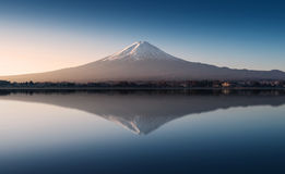 Mount Fuji in the early morning with reflection on the lake kawaguchiko Royalty Free Stock Image