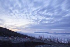 Mount Fuji enshrouded in clouds Stock Photos