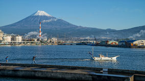 Mount Fuji and factory Stock Photo