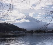 Mount Fuji fem sjöar arkivfoton